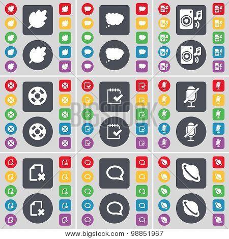 Leaf, Chat Cloud, Speaker, Videotape, Survey, Microphone, File, Chat Bubble, Planet Icon Symbol. A L