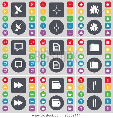 Satellite Dish, Compass, Bug, Chat Bubble, File, Folder, Rewind, Wallet, Fork And Knife Icon Symbol.