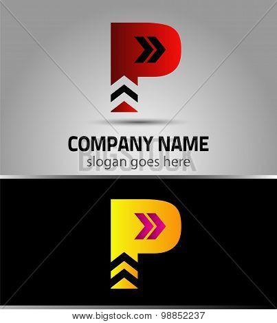 Letter P logo icon design template elements