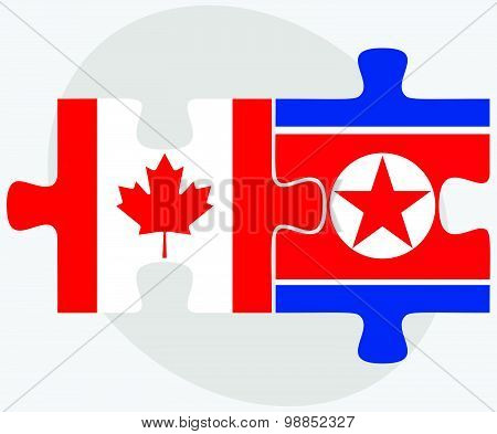 Canada And Korea-north Flags