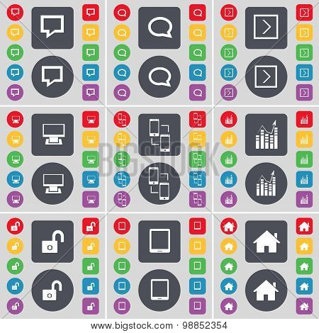 Chat Bubble, Arrow Right, Monitor, Information Exchange, Graph, Lock, Tablet Pc, House Icon Symbol.