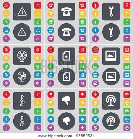 Warning, Retro Phone, Wrench, Wi-fi, File, Window, Clef, Dislike Icon Symbol. A Large Set Of Flat, C
