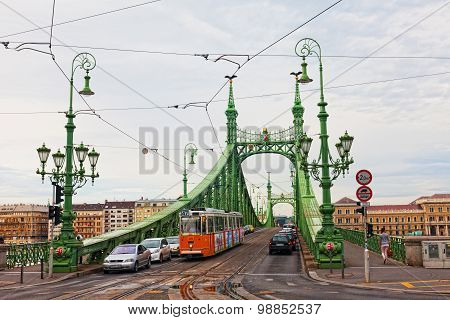 liberty Bridge (green Bridge) In Budapest .