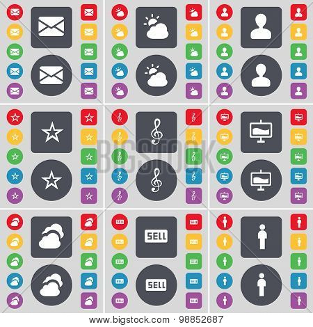 Message, Cloud, Avatar, Star, Clef, Graph, Sell, Silhouette Icon Symbol. A Large Set Of Flat, Colore