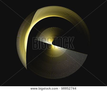 Abstract Fractal Design. Yellow Rotational Rings On Black.