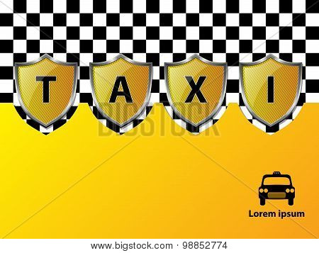 Taxi Advertising Background With Metallic Shields