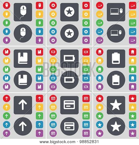 Mouse, Star, Laptop, Dictionary, Battery, Arrow Up, Credit Card, Star Icon Symbol. A Large Set Of Fl