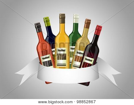 An illustration of assorted wine bottles