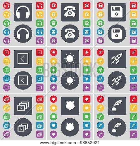 Headphones, Retrophone, Floppy, Arrow Left, Light, Rocket, Gallery, Police Badge, Ink Pot Icon Symbo