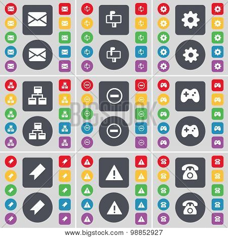 Message, Mailbox, Gear, Network, Minus, Gamepad, Marker, Warning, Retro Phone Icon Symbol. A Large S