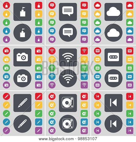 Flag Tower, Chat Bubble, Cloud, Camera, Wi-fi, Cassette, Pencil, Gramophone, Media Skip Icon Symbol.