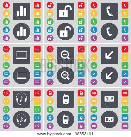 Diagram, Lock, Receiver, Laptop, Minus, Deploying Screen, Headphones, Mobile Phone, Buy Icon Symbol.