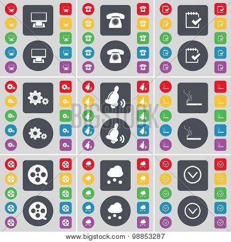 Monitor, Retro Phone, Survey, Gear, Bell, Cigarette, Videotape, Cloud, Arrow Down Icon Symbol. A Lar