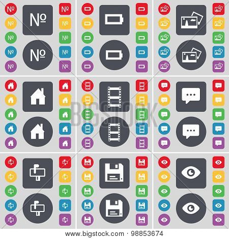 Number, Battery, Picture, House, Negative Films, Chat Cloud, Mailbox, Floppy, Vision Icon Symbol. A