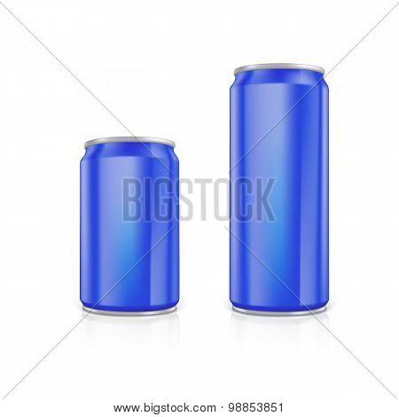 Set of blue blank aluminium cans.
