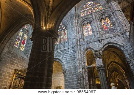 Inside View Of Gothic Archs With Arabesque Of The Cathedral In Avila, Spain