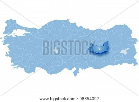 Map Of Turkey, Elazig