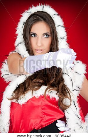 Sexy  Woman Pointing In Santa Costume