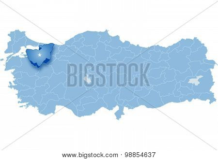 Map Of Turkey, Bursa