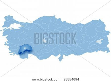 Map Of Turkey , Burdur