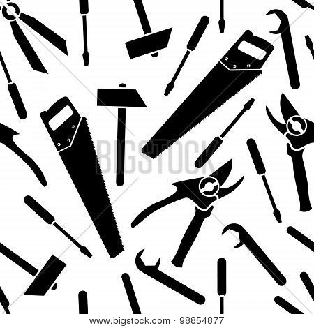 seamless pattern of a vector icons of  tools