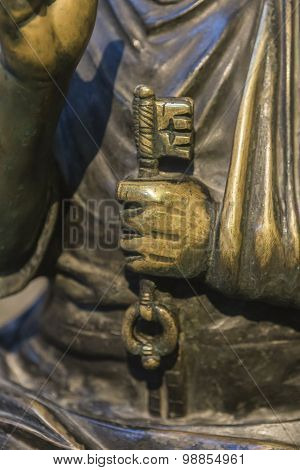 Detail Of Sculpture In Bronze Of St. Peter Enthroned, Cathedral Of Avila, Spain