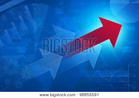 Red Arrow On Financial Graph And Chart, Success Business, Elements Of This Image Furnished By Nasa