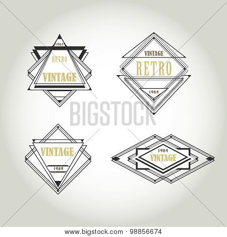 Set of artdeco  Vintage Labels, Logo, Frames