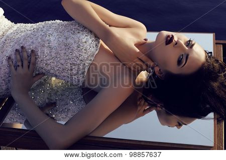 Gorgeous Brunette Woman Wearing Luxurious Sequin Dress
