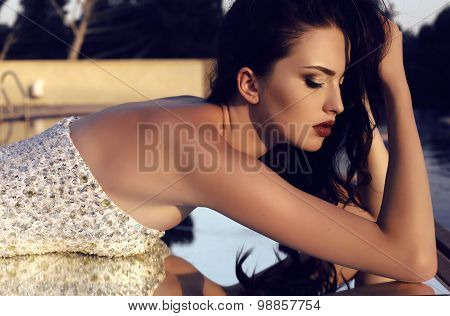 Gorgeous Brunette Woman Wearing Luxurious Sequin Dress