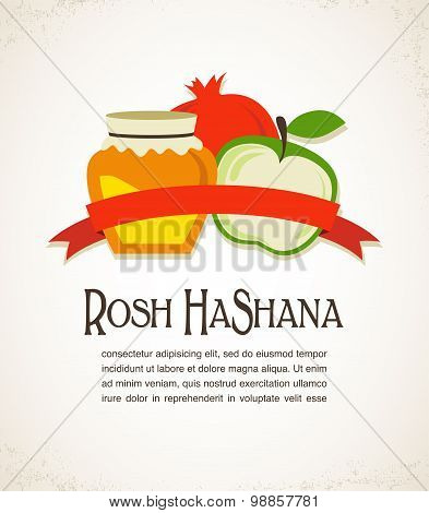 Greeting card for Jewish New Year Holiday with text Happy New Year in Hebrew and English. Vector ill