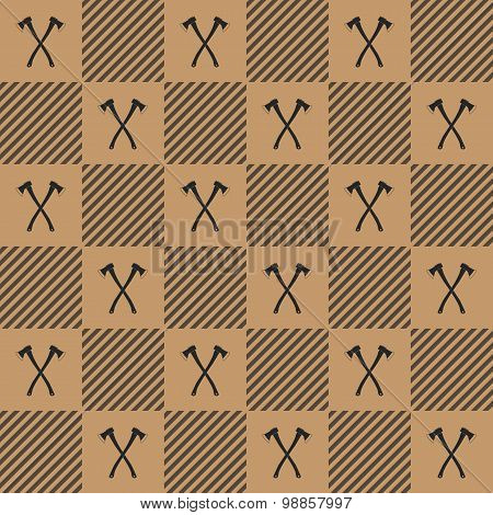 Lumberjack Plaid Pattern With Axes