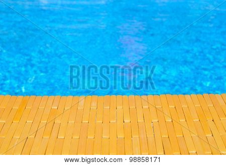 Swimming Pool And Wooden Deck For Backgrounds