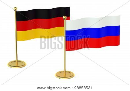 Meeting Germany With Russia Concept