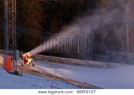 Downhill slope and snow making equipment.