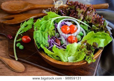 Fresh Hydroponic Salad On Wooden Table