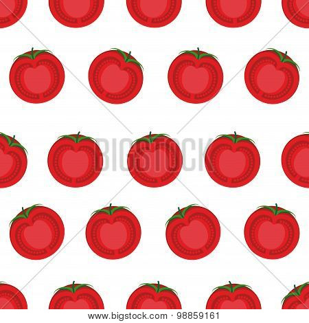 Slice Tomato Seamless Pattern. Vector Background From Vegetables Tomato.
