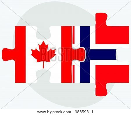 Canada And Norway Flags