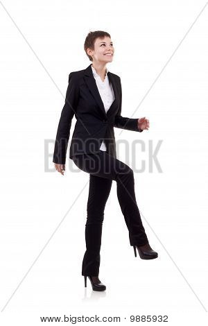 Woman Stepping On Imaginary Step
