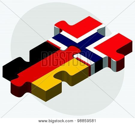 Germany And Norway Flags In Puzzle