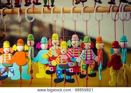 Wooden Dolls At The Market