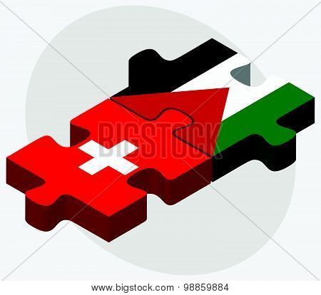 Switzerland And Palestine Flags