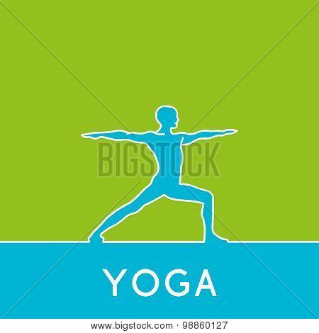 Silhouette of man in yoga asana.