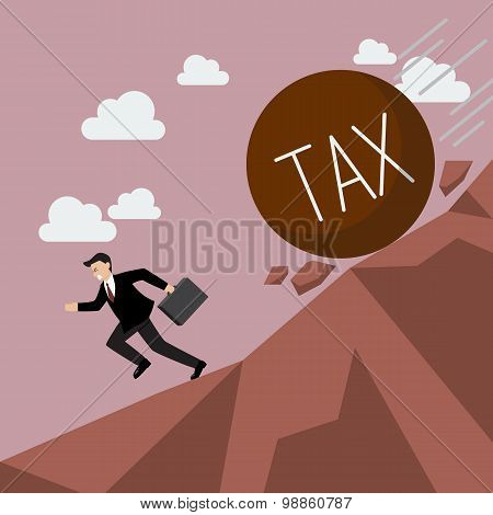 Businessman Running Away From Heavy Tax That Is Rolling Down To Him