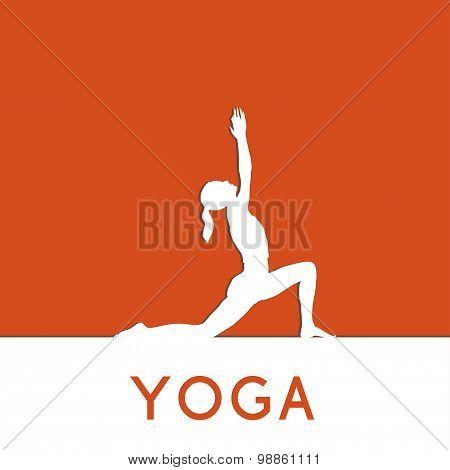 Yoga poster. Linear, flat yoga illustration.