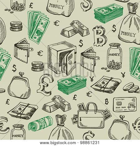 Money falling vector seamless pattern.