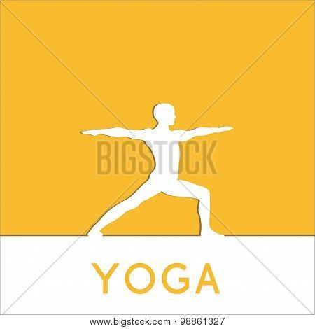 Vector yoga illustration. Human makes exercises of yoga.