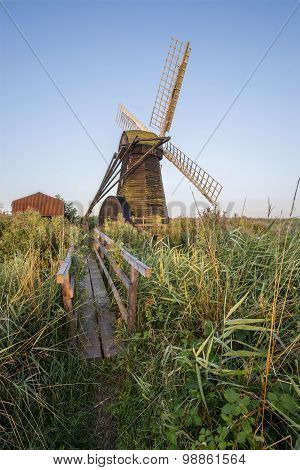 Old Drainage Windpump Windmill In English Countryside Landscape
