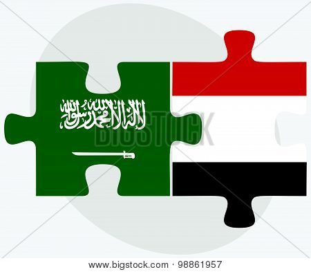 Saudi Arabia And Yemen Flags