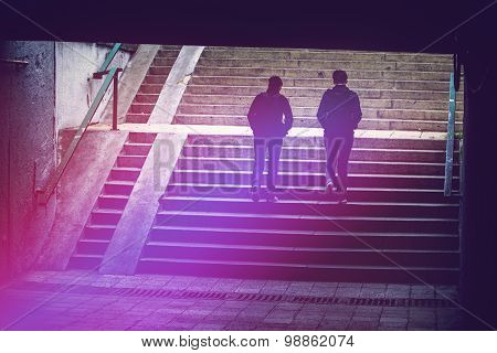 People In Urban Environment, Pedestrians Walking In Underground